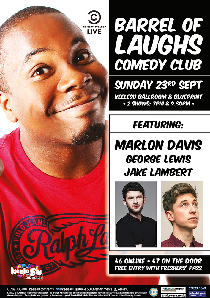 Barrel Of Laughs Comedy Club - With Marlon Davis, George Lewis and Jake Lambert (SHOW 2)