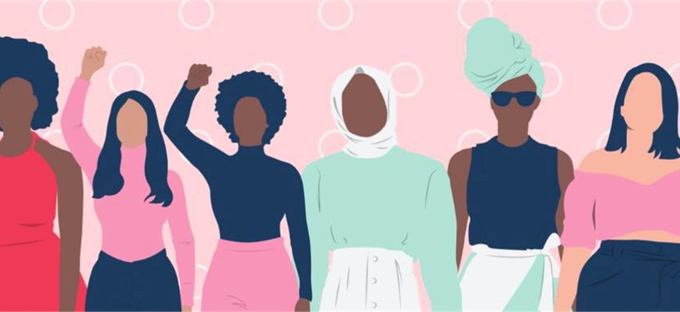 Cartoon showcasing women with different skin tones, some with hijabs & sizes with no faces.
