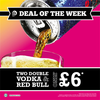 Two Double Vodka Red Bull for £6