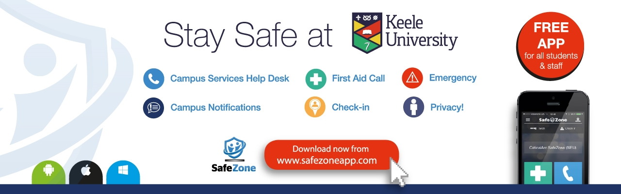 banner: Stay safe at Keele with the safe app
