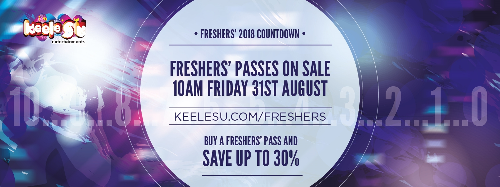 "Countdown image using the colours blue and purple in light effect fade saying ""Freshers' passes"
