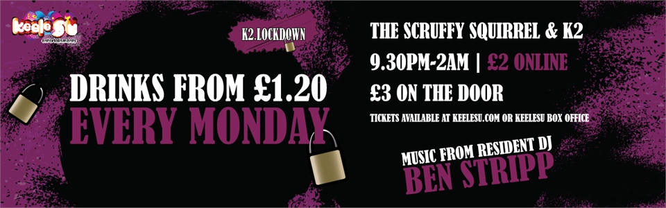 banner: Lock down every Monday. drinks from £1.20