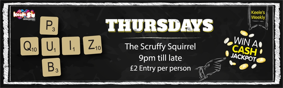 Pub Quiz every thursday. £2 entry, cash prizes to be won
