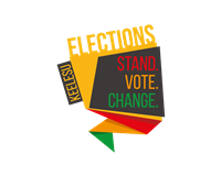 The election logo 'Stand. Vote. Change'