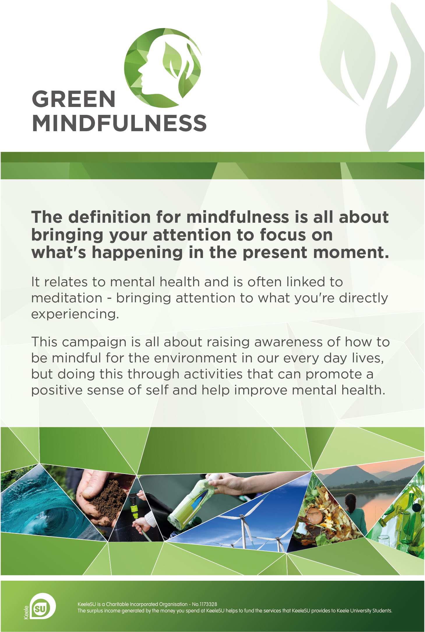 The definition of mindfulness is all about bringing your attention to focus on what's happening in the present moment. Green Mindfulness is all about raising awareness of how to be mindful for the environment in our every day lives, but doing this through activities that can promote a positive sense of self and help improve mental health.