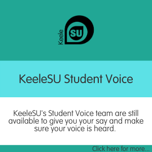 "Teal KeeleSU template that says ""KeeleSU's student voice team are still available to give you your sat and make sure your voice is heard"" Click here for more..."