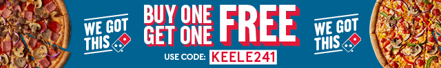 Dominos - buy one get one free with code KEELE241