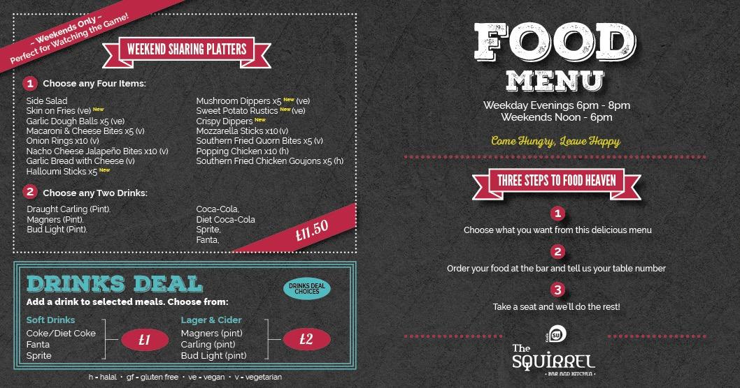Food and drink menu page 3