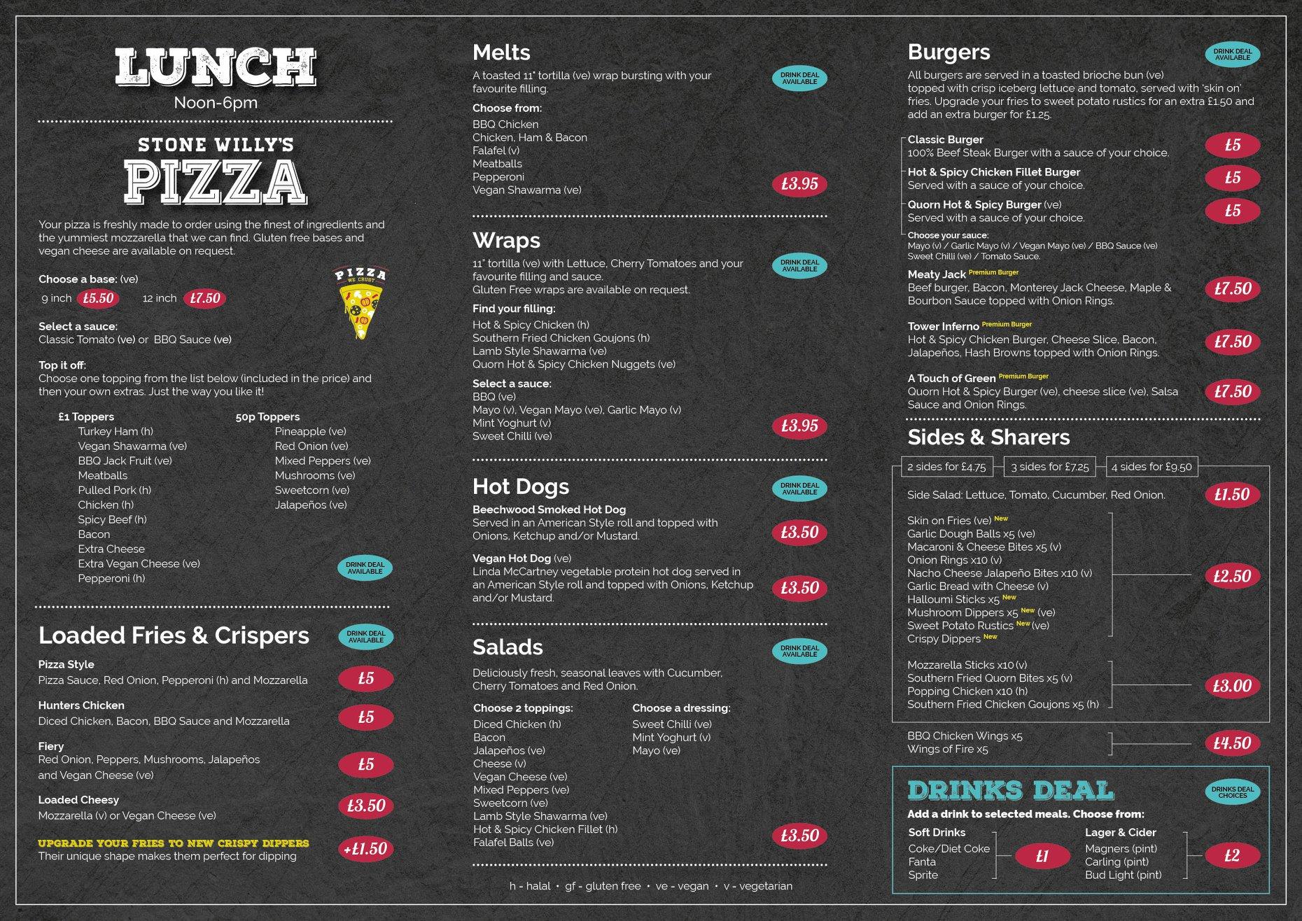 Food and drink menu page 2