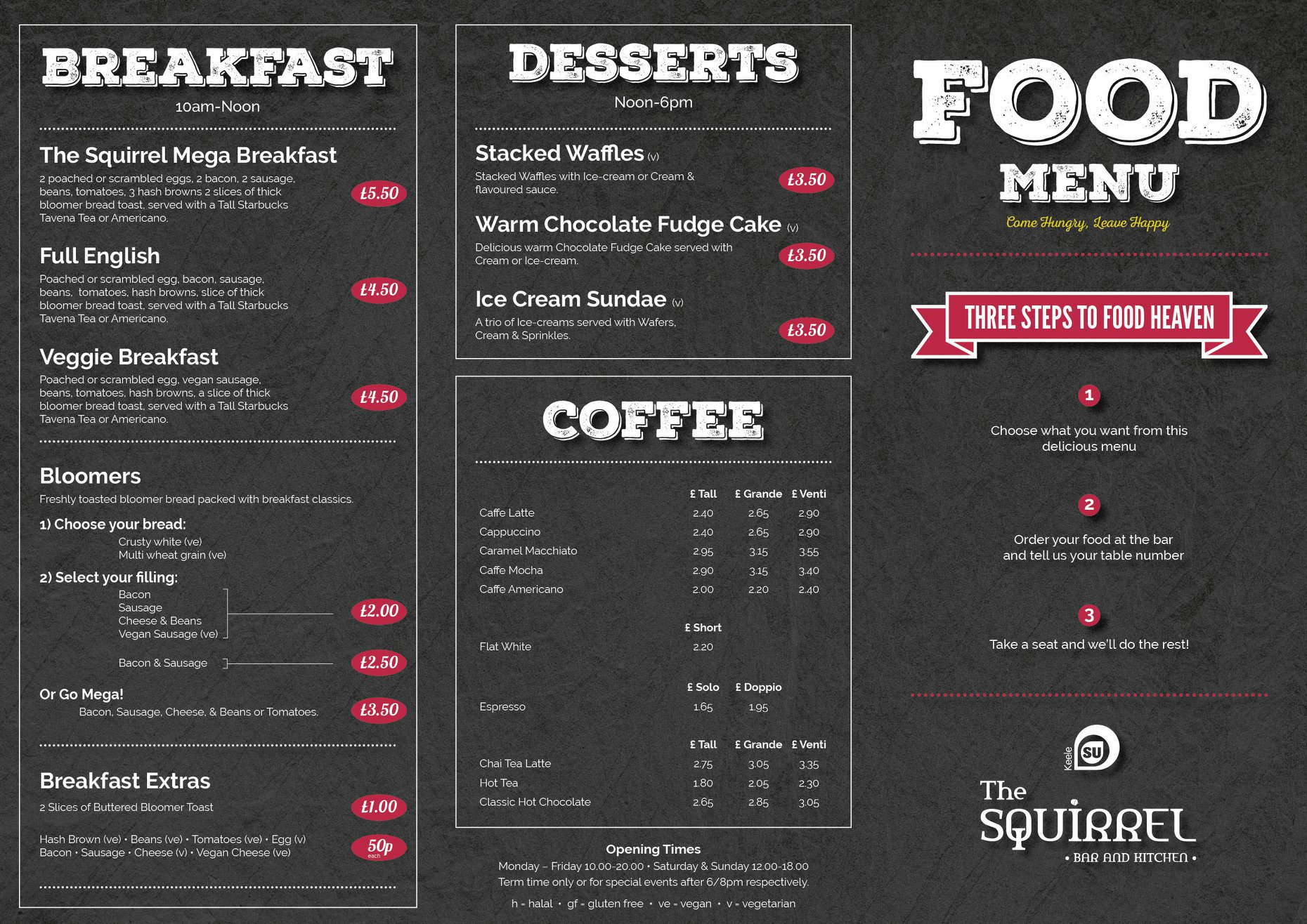 The Squirrel food and drink menu page one