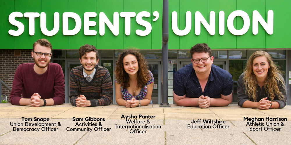 Photo of elected officers, left to right, Tom, Sam, Aysha, Jeff and Meghan